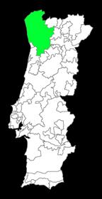 kaart van wijngebied Minho (Vinho Verde)