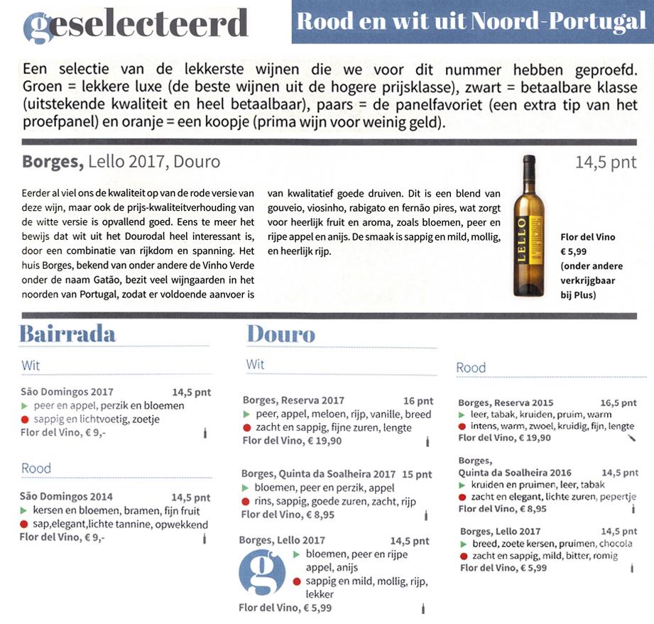 In perswijn worden de wijnen uit Bairrada en Douro van Flor del Vino weer uitstekend beoordeeld